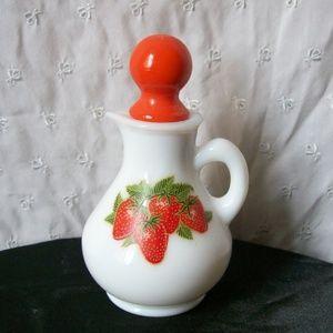 VTG Avon Strawberries & Cream Milk Glass Cruet